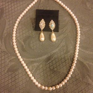 Nordstrom pearl & rhinestone necklace earrings set
